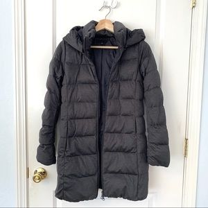 Uniqlo Heather Gray Long Hooded Down Puffer Coat